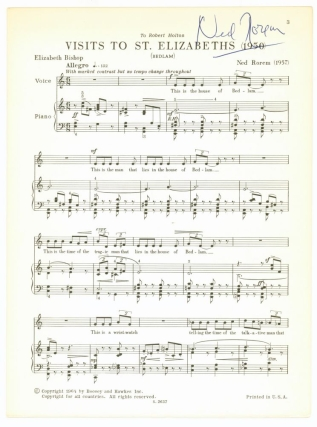 Visits to St. Elizabeths (1950) Bedlam). For Medium Voice and Piano. Music by Ned Rorem. Text by...