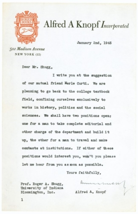 Correspondence relating to hiring Roger Shugg for a senior editorial position at Alfred A. Knopf in 1945 and Shugg's resignation in 1952