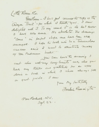 "Autograph Letter, signed (""Frederic Remington""), to his publishers, Little, Brown"