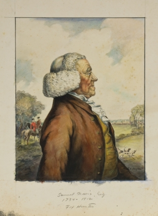 """FATHERS OF AMERICAN SPORT"". The ORIGINAL SIX WATERCOLORS of this famous Derrydale Press set, signed by the artist ""R.L. Boyer"". Together with a set of PROOFS BEFORE LETTERS, with what is evidently the artist's modelling and coloring, each signed by him in pencil (one, unsigned, is in print state, with legend engraved in lower margin)"