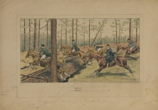 The Aiken Drag. Proof before Letters, the marked Colorist's Model for this hand-colored...