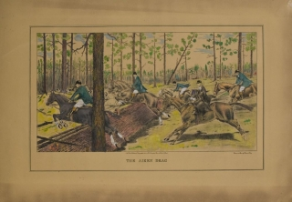 The Aiken Drag. Proof before Letters, the marked Colorist's Model for this hand-colored lithograph, with a copy of the finished print