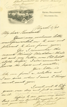 "Autographed Letter, signed (""Jas. J. Corbett""), to Mr. Kendrick. James J. Corbett."
