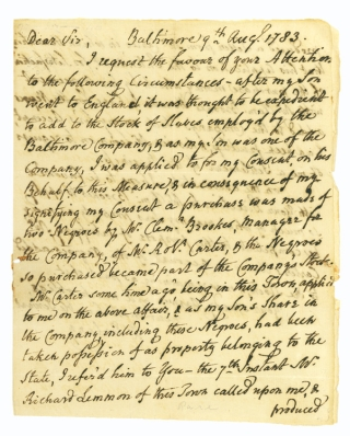 "Autograph Letter, signed (""D Dulany""), to Daniel of St. Thomas Jenifer, concerning remuneration for confiscated shares of slaves owned by the Baltimore Company"