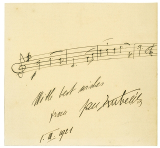 "Autograph musical quotation, inscribed (""With best wishes, from Jan Kubelík""). Jan..."