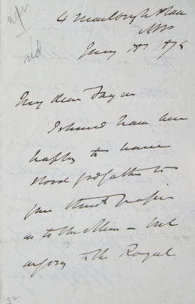 ALS. To Joseph Fayrer (1824-1907), refusing to sponsor his paper for Royal Society as Dr. (T.L.)...