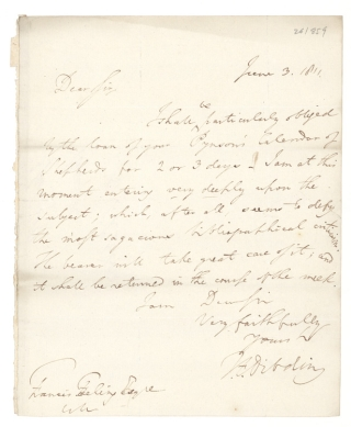 "Autograph Letter, signed (""T.F. Dibdin""), to Francis Freeling. Thomas Frognall Dibdin."