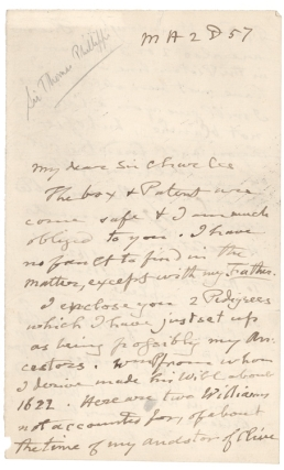 "Autograph Letter, signed (""T. Phillipps""), to ""My dear Sir Charles"" [George Young, Garter..."