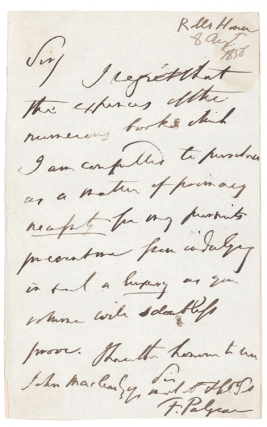 "Autograph Letter, signed (""F. Palgrave""), to John Marlowe. Palgrave, rancis Turner"