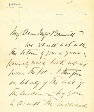 "Autograph Letter, signed (""J Jefferson""), to Miss Bennett. Joseph Jefferson"