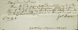 Receipt from Kittery, Maine (then part of Masachusetts) for December 25, 1753 to Constable Daniel...