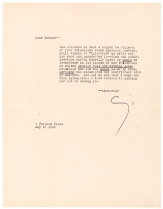 "Typed Letter, signed (""Cummings""), to Howard Rothschild"