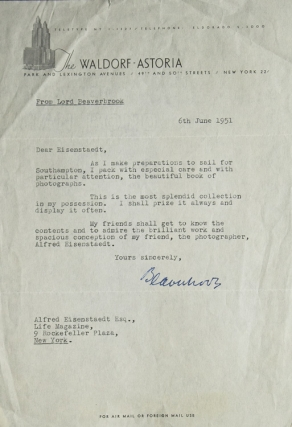 "Typed Letter, Signed (""Beaverbrook""), to Alfred Eisenstaedt, acknowledging a ""beautiful..."