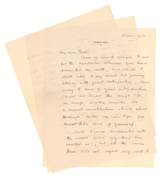 "Autograph Letter, signed (""Winston S. Churchill""), to Major James B. Pond, with related 1 p. Typed Letter, signed, and notes. Winston S. Churchill."