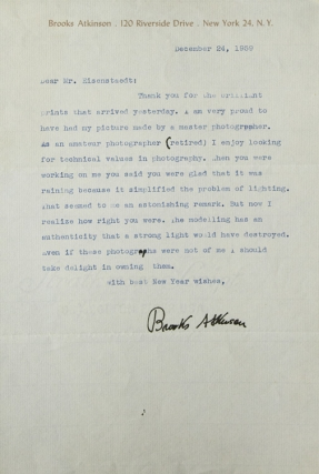 Typed Letter, Signed, to Alfred Eisenstaedt, thanking him for portrait prints. Brooks Atkinson.