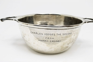 "Small Hallmarked sterling silver Quaich. Inscribed on the side ""Charles Hodges the Second/ From/ Harry Crosby."""