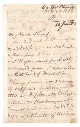 "Autograph Letter, signed (""Thos Phillipps""), to ""My dear Sharp"". Sir Thomas Phillipps"