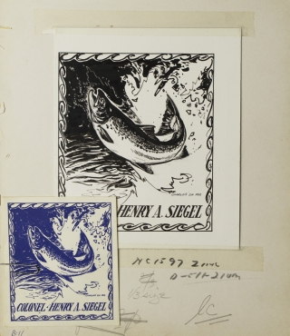Original ink drawing of a leaping salmon within a border of waves, for the bookplate of bookseller and bibliographer Col. Henry A. Siegel. Charles De Feo.