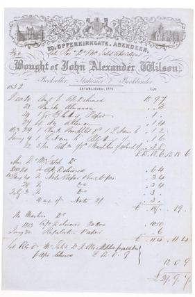 Billhead of John Alexander Wilson Bookseller, Stationer & Bookbinder. Bill for £29.9.7 for...