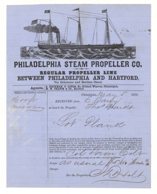 Billhead of Philadelphia Steam Propeller Co. Regular Propeller Line between Philadelphia and Hartford