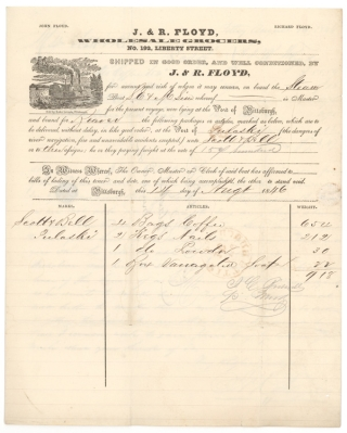 Billhead from J. & R. Floyd, Wholesale Grocers for shipment of coffee, nails, powder and soap for $918 from Pittsburgh to Pulaski