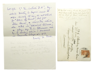 "Autograph Note, signed (""J.G."" for John Gaunt), on a postcard to D[orothy] H. Rowe. Dorothy Sayers."