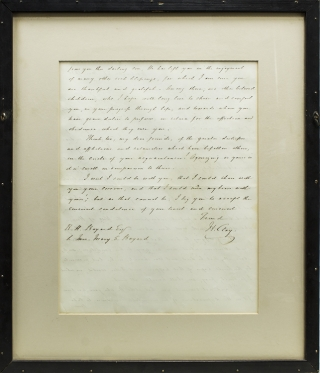 """Autograph Letter, signed (""""H. Clay""""), to Mr. and Mrs. [Richard] Bayard on the death of their son Charles"""