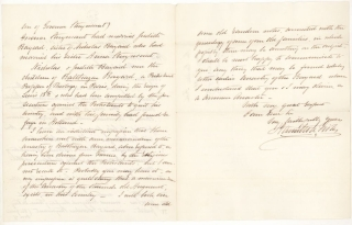Autograph Letter, Signed. To Honble. Richard H. Bayard
