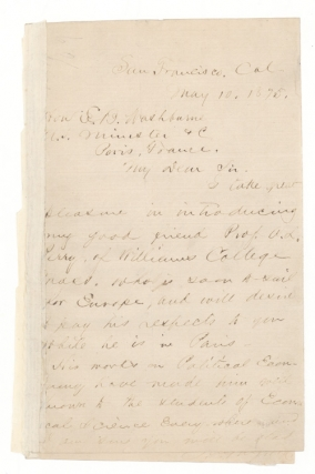 Autograph Letter, Signed. To Hon. E.[lihu] B.[enjamin] Washburne (1816-1887) introducing Prof A[rthur] L[atham] Perry (1830–1905) of Williams College, a Professor of History. James Garfield.