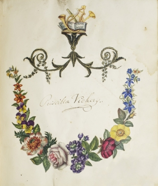 Commonplace book, album of poetry, prints and watercolors compiled by Mrs. Priscilla Vickers of Bridgenorth, Shropshire, England