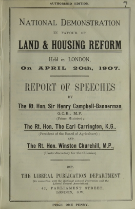 National demonstration in favour of land & housing reform held in London, on April 20th, 1907....