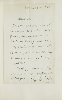 "Autograph Letter, signed (""Emile Zola""), Medan 22 aout 88, sending payment for the casting of a bronze bust"