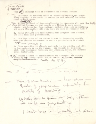 "Typescript foreword to ""De Motte's Long-Playing Phonographic Record Guide,"" signed; with..."