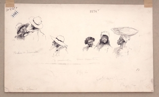 """Pen and Ink Drawing: 2 vignette scenes of black men and women for """"Mrs. Stowe's Uncle Tom at home in Kentucky"""" by James Lane Allen as it appeared in The Century Oct. 1887"""