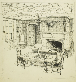 3 pen and ink drawings of Interiors for House & Garden, 1915. Alfred Morton Githens.