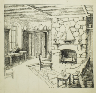 3 pen and ink drawings of Interiors for House & Garden, 1915