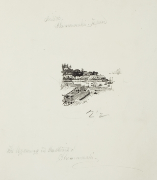 "Pen and Ink ""The Wyoming in the Straits of Shimonoséki"" drawn from a photograph for the Century..."