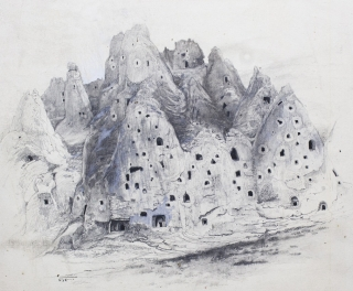 "Drawing ""View of a Cliff in Soghanlü Dere (Onion Valley)"" for The Century article Troglodyte..."