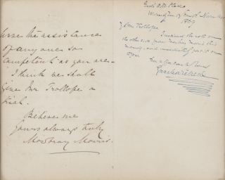 "Autograph Letter, signed (""Charles Dickens"" with flourish), to Adolphus Trollope, on the..."