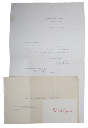 "Typed letter signed ""Robert Cecil"" and a card signed ""Robert Cecil"". Robert Cecil, Lord"