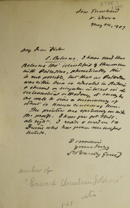 """Autograph letter signed """"S. Baring Gould"""""""