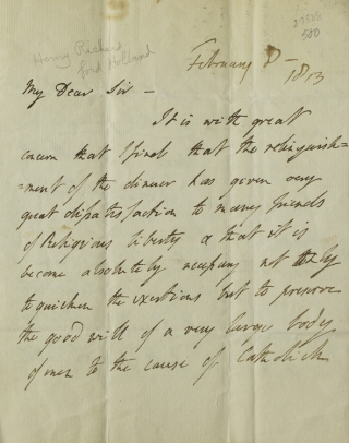 A group of three autograph letters signed the first by Henry Richard Vassall Fox, Baron Holland...