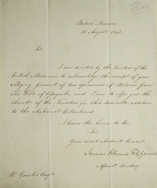 "ALS ""James Edward Fitzgerald"" as Assistant Secretary of the British Museum to William Gourlie. James Edward Fitzgerald."