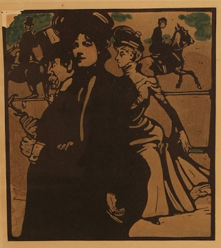 """Lady"": woodcut from the series ""London Types"", deluxe edition, printed in colors and with hand-coloring, signed and dated by the artist ""William Nicholson 1898"""