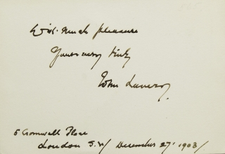 "Card inscribed in ink: ""With much pleasure / Yours very truly / John Lavery / 5 Cromwell Place..."