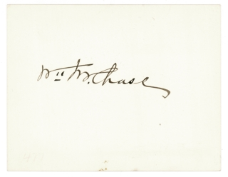 "Card signed in ink: ""Wm M. Chase"". William Merritt Chase"