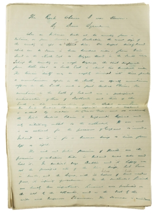 "Autograph Manuscript Signed (""Donn Byrne"") of his essay:[IRELAND], THE ROCK WHENCE I WAS HEWN. Donn Byrne."
