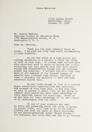 """Typed letter signed """"Gwen Bristow"""""""