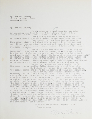 "Typed letter signed ""Mary Chase"". Mary Chase, American playwright"