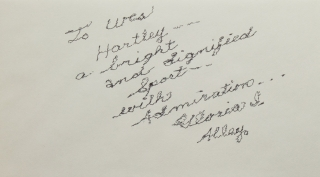 "Autograph note signed ""Gloria I. Alley"